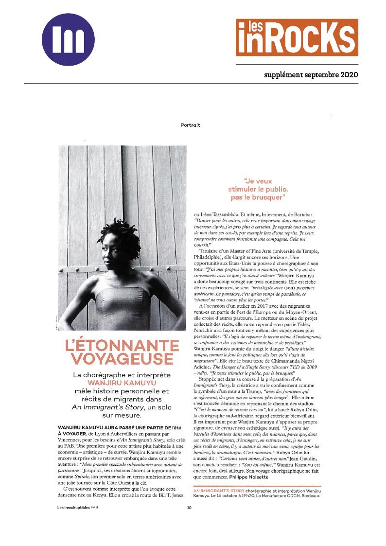 Supplement les Inrocks Special FAB An immigrants story Wanjiru Kamuyu