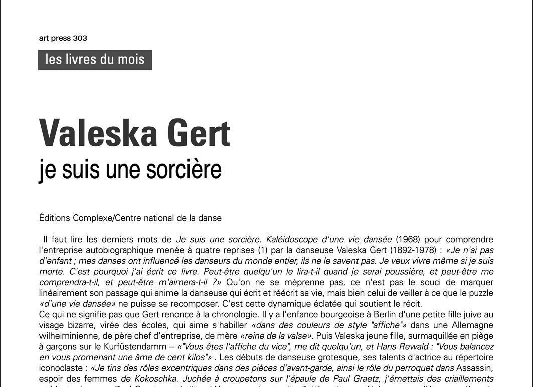 article Laurent Goumarre Valeska Gert je suis une sorciere